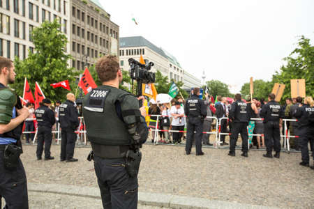 BERLIN, GERMANY - MAY 23, 2014: Rally against AfD is a centrist political party founded in 2013. Won 7 of Germanys 96 seats for European Parliament in May 2014 election.