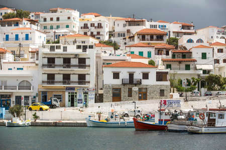 breadth: ANDROS, GREECE - APR 28, 2014: Marina of Andros, is the northernmost island of the Greek Cyclades archipelago in the Aegean Sea - area is 380 km2, 40 km long, and its greatest breadth is 16 km. Editorial
