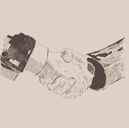 Handshake business people, partnership. Pencil sketch on a gray background, vector illustration. Vector