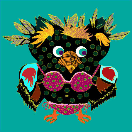 Cute Owl, cartoon drawing, cute illustration for children, vector illustrations (hipster symbol series) Vector