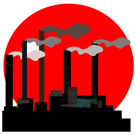 Factory. Industrial building factory, smoke from the chimneys, vector illustration in social art stile. Vector