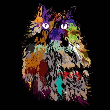Owl on an black background, hipster symbol, vector illustration. Illustration for t-shirt. Vector