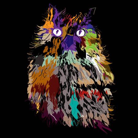 Owl on an black background, hipster symbol, vector illustration. Illustration for t-shirt. Vector