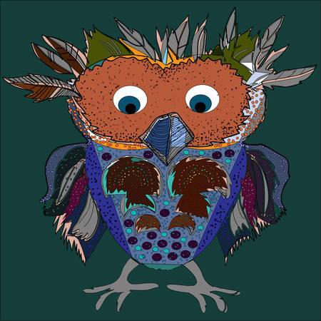 Cute Owl, cartoon drawing, cute illustration for children, vector illustrations (hipster symbol series) Vector