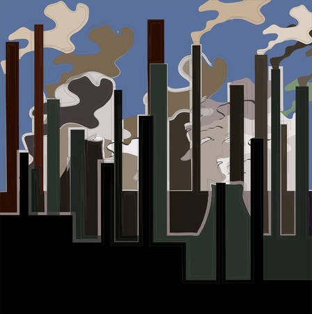 Factory. Industrial building factory, smoke from the chimneys, vector illustration. Vector