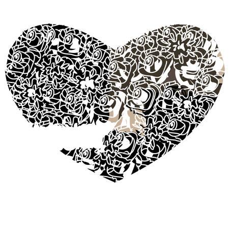 Corazón en un fondo blanco en el estilo gótico, ilustración vectorial. Foto de archivo - 28870051