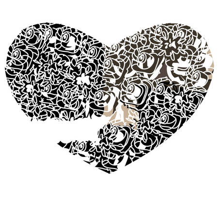 corazon: Heart on a white background in gothic style, vector illustration.