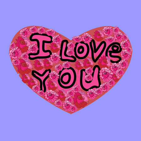 I Love You inscription on the Heart, purple background. Vector illustration. Vector