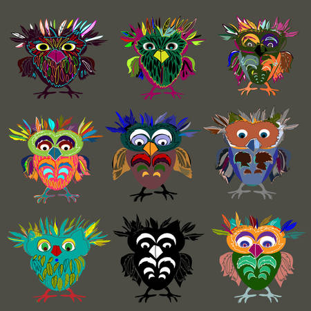 Set (9 pieces) of Cute Owl (on a white background), cartoon drawing, cute illustration for children, vector illustrations (hipster symbol series) Vector