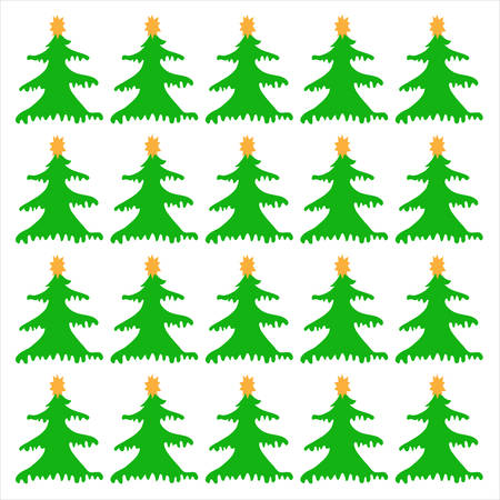 Christmas Trees on a white background, vector background pattern seamless. Vector