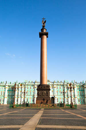 ST.PETERSBURG, RUSSIA - MAY 21: The Alexander Column, is the focal point of Palace Square in May 21, 2012 in St.Petersburg, Russia. The column is named for Emperor Alexander I of Russia, who reigned from 1801-1825.