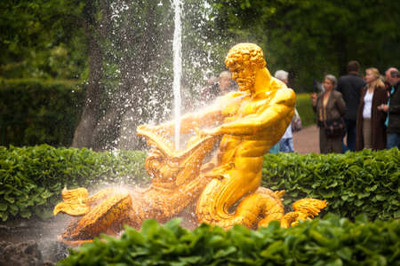 PETERHOF, RUSSIA - JULY 1: Samson - the central fountain palace and park ensemble «Peterhof», May 1, 2012 in Peterhof, Russia. Fountain monument was erected in 1735, jet beats up to 31 meters.