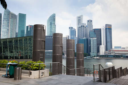 dynamically: SINGAPORE - APRIL 15: A view of city in Marina Bay business district  on April 15, 2012 on Singapore. Asian financial center, the city state is one of the most dynamically developing countries in the world. Editorial