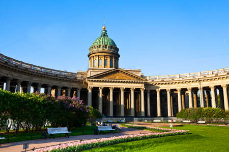 sobor: ST.PETERSBURG, RUSSIA - MAY 21: Kazan Cathedral or Kazanskiy Kafedralniy Sobor in May 21, 2012 in St.Petersburg, Russia. The construction was started in 1801 and continued for 10 years. Editorial