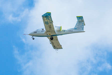 aerobatic: BERLIN, GERMANY - MAY 20, 2014: Prototype electric aircraft Airbus E-Fan (Airbus  France), demonstration during the International Aerospace Exhibition ILA Berlin Air Show-2014. Editorial