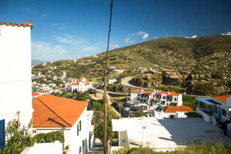 andros: ANDROS, GREECE - APR 29, 2014: View of Andros, is the northernmost island of the Greek Cyclades archipelago in the Aegean Sea - area is 380 km2, 40 km long, and its greatest breadth is 16 km.