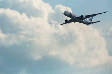 ber: BERLIN, GERMANY - MAY 20, 2014: The aircraft Airbus A350 XWB, demonstration during the International Aerospace Exhibition ILA Berlin Air Show-2014. Editorial