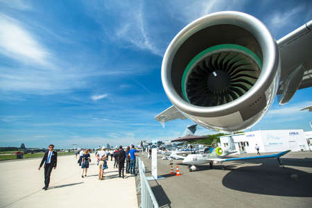 ber: BERLIN, GERMANY - MAY 20, 2014: Turbine of  aircraft Emirates Airbus A380, demonstration during the International Aerospace Exhibition ILA Berlin Air Show-2014.