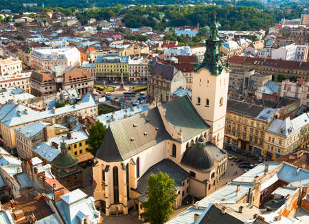 Ukraine. Top view of the Cathedral in Lviv.
