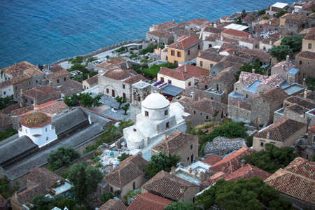 laconia: Top view of a traditional fortified town of Monemvasia, Greece. Stock Photo