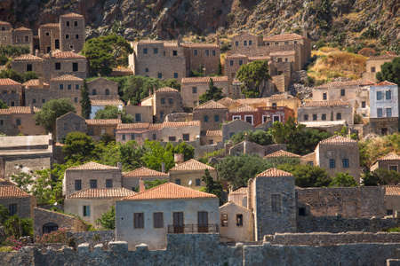 Monemvasia island traditional view of stone houses. Greece. photo