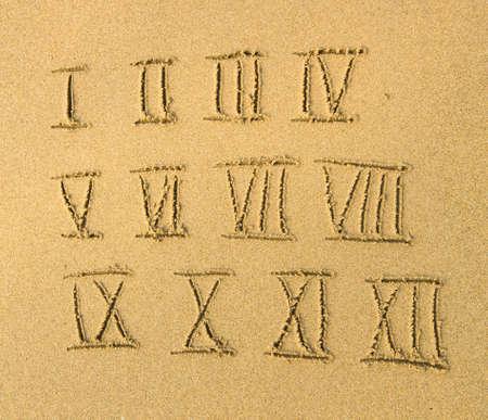 Roman numbers written on a sandy beach. photo