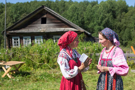 ecovillage: SOGINITSY, RUSSIA - JULY 29, 2014: Unidentified participants during folk festival Ivan-Tea (lat. Chamaenerion) from ecovillage Grishino.