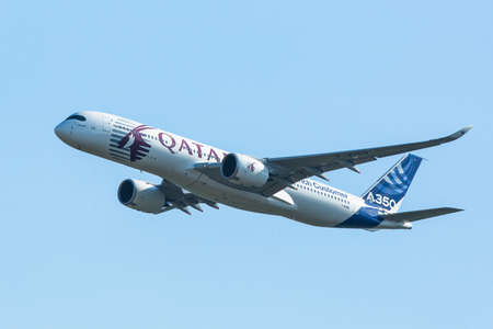 aerobatic: BERLIN, GERMANY - MAY 20, 2014: The aircraft Airbus A350 XWB, demonstration during the International Aerospace Exhibition ILA Berlin Air Show-2014. Editorial