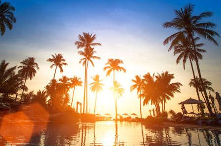 tropics: Beautiful sunset, beach in the tropics.
