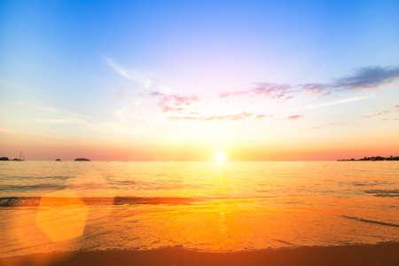 panoramic nature: Amazing sunset on the sea beach. Stock Photo