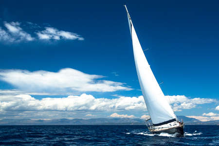 sailboat race: Luxury yachts. Boat in sailing regatta.  Stock Photo