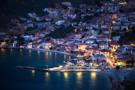 skiathos: Marina of Monemvasia at night time in Greece.