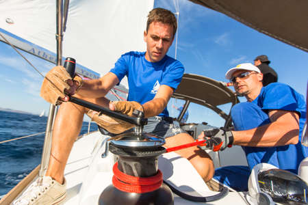 the yacht: PATRAS, GREECE - OCT 2, 2014: Unidentified sailors participate in sailing regatta 12th Ellada Autumn 2014 on Aegean Sea.