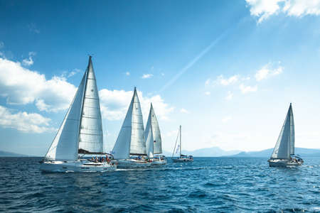 ERMIONI - POROS, GREECE - OCT 9, 2014: Unidentified sailboats participate  in sailing regatta 12th Ellada Autumn 2014 on Aegean Sea.