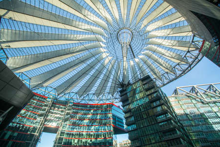 sony: BERLIN, GERMANY - NOV 17, 2014: The Sony Center on Potsdamer Platz. Sony Center located at the Potsdamer Platz is a Sony-sponsored building complex, opened in 2000 year. Editorial