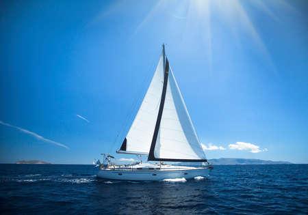 yachting: Luxury yacht at sea race. Sailing regatta. Cruise yachting.
