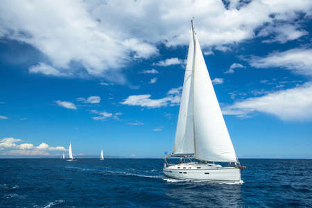 Sailing. Boat in sailing regatta. Luxury yachts.