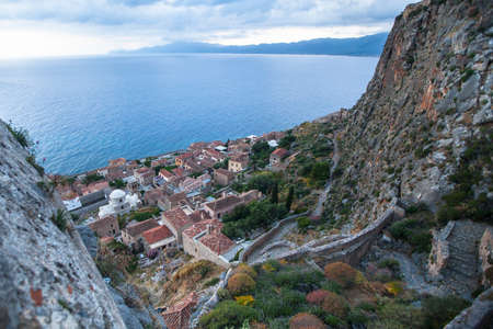 italian fresco: Top view of Monemvasia, Greece.