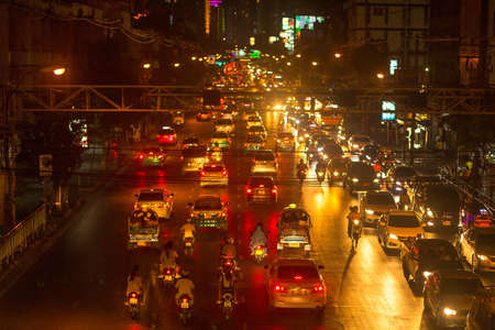 mode transport: BANGKOK, THAILAND - DEC 5, 2014: Rush hour in city centre. Although Bangkoks canals historically served as a major mode of transport, they have long since been surpassed in importance by land traffic.