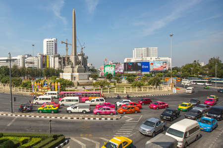mode transport: BANGKOK, THAILAND - DEC 17, 2014: Rush hour in city centre. Although Bangkok canals historically served as a major mode of transport, they have long since been surpassed in importance by land traffic.