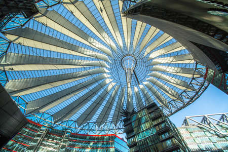 platz: BERLIN, GERMANY - NOV 17, 2014: The Sony Center on Potsdamer Platz. Sony Center located at the Potsdamer Platz is a Sony-sponsored building complex, opened in 2000 year. Editorial