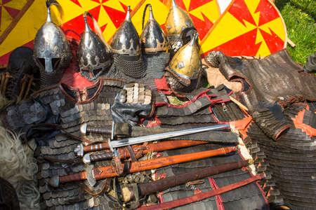 medievales: Armor. Armas medievales. Foto de archivo