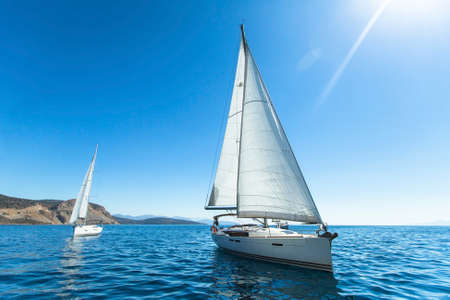 Sailing. Luxury yachts. Boats in sailing regatta.