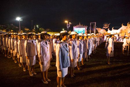 adulyadej: BANGKOK, THAILAND - DEC 05, 2014: Unidentified participants in the celebration of the 87th birthday of Thailand King Bhumibol Adulyadej, is also known as Rama IX, ninth monarch of Chakri Dynasty.