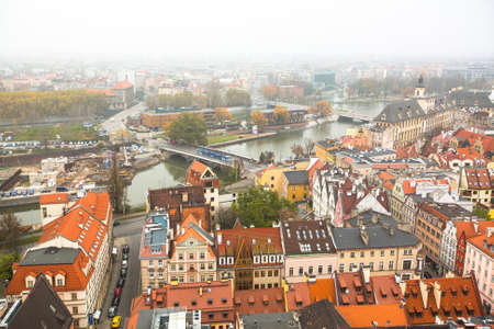 wroclaw: WROCLAW, POLAND - NOV 6: Top view of Wroclaw old town from the top of the tower of the church of Saint Elizabeth. Wroclaw is going to be European Capital of Culture in 2016.