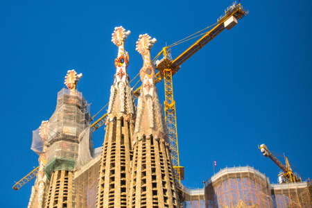 BARCELONA, SPAIN - DEC 23: La Sagrada Familia - the impressive cathedral designed by Gaudi, which is being build since Mar 19, 1882 and is not finished yet. Editorial