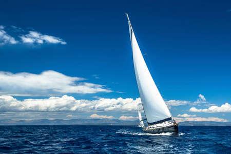 competencia: Vela. Yates de la nave con velas blancas en el mar abierto. Barcos de lujo.