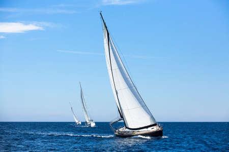 흰색 돛에 배를 항해합니다. 럭셔리 요트.