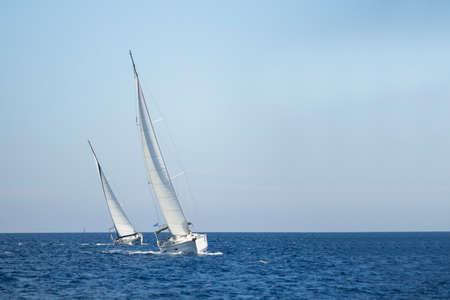 rivals rival rivalry season: Two sailboats on the sea. Sailing. Luxery yachts. Stock Photo