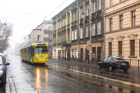 KRAKOW, POLAND - JAN 25, 2015: One of the streets of Kazimierz  quarter, is a historical district of Krakow and historical monument Decree President Walesa Sep 8, 1994, also declared a World Heritage Site.